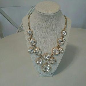 Goldtone, rhinestone, bib necklace.